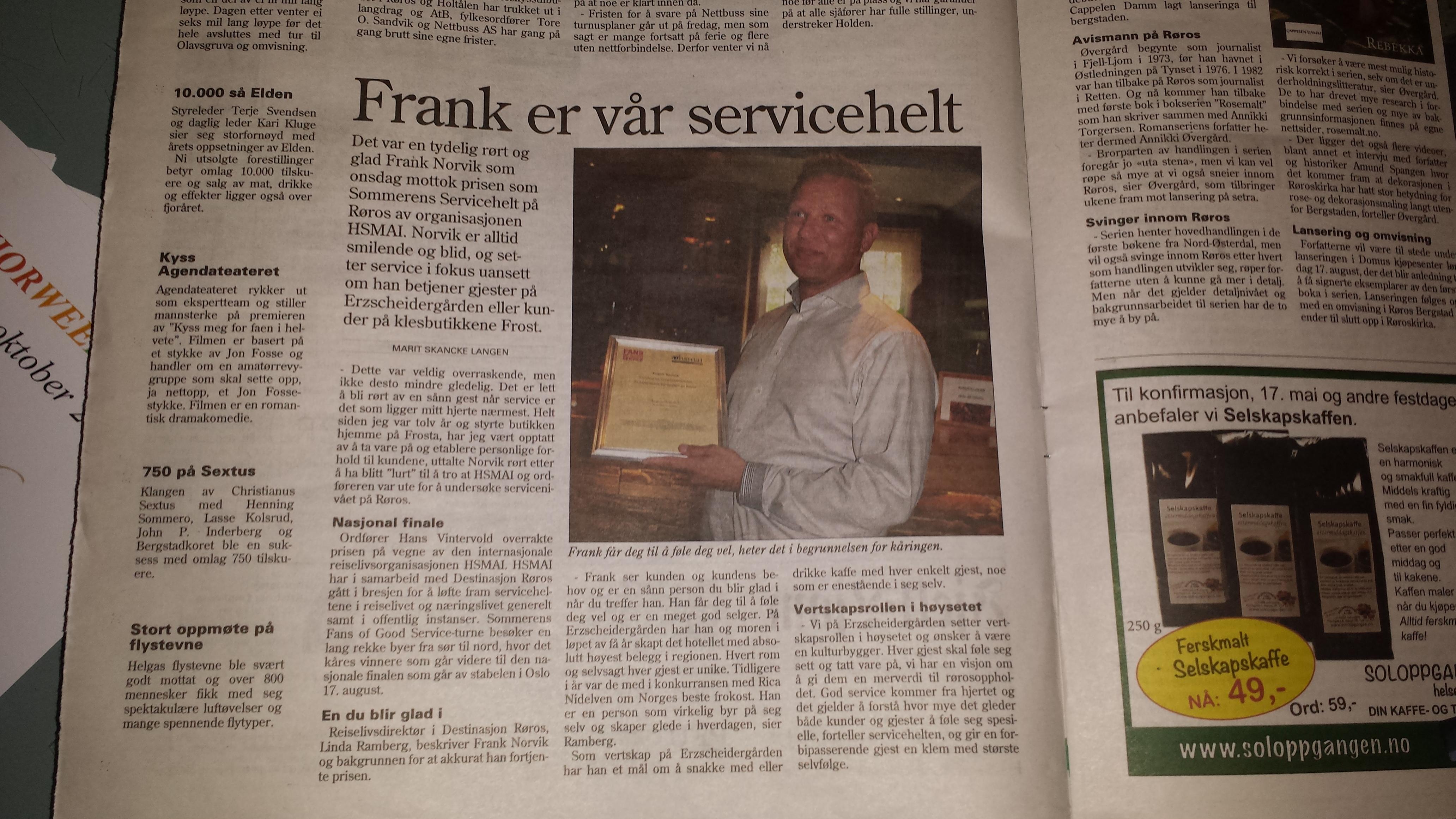 Også i avisutgaven til Fjell-Ljom