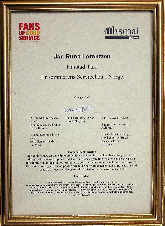 Diplomet for Sommerens servicehelt 2013.